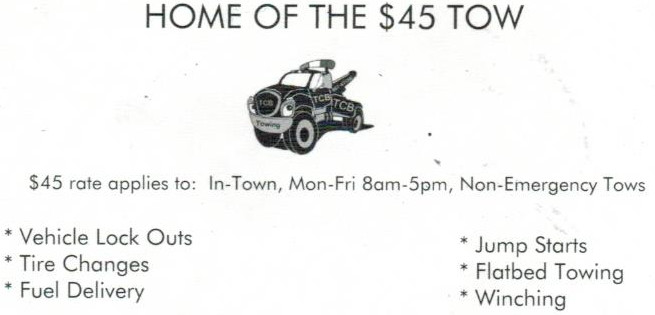 tcb towing and auto service 40 gift certificate to go towards an